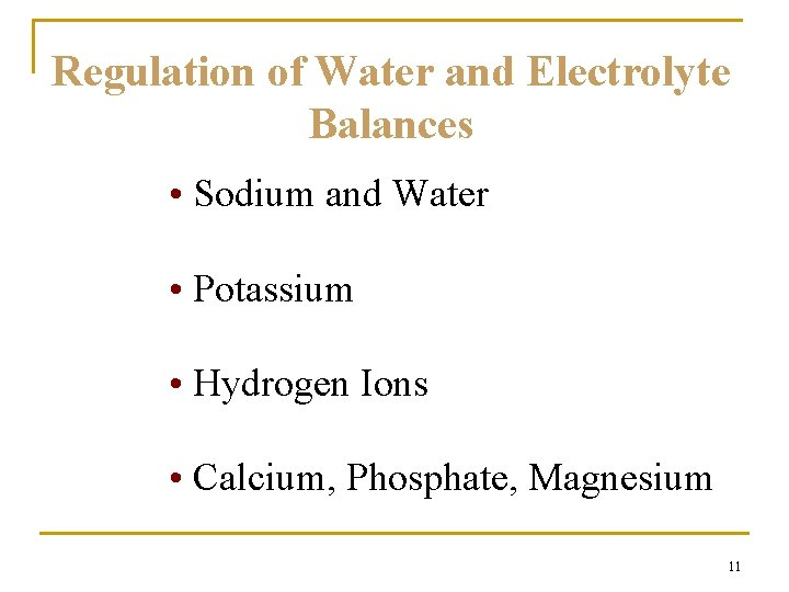 Regulation of Water and Electrolyte Balances • Sodium and Water • Potassium • Hydrogen