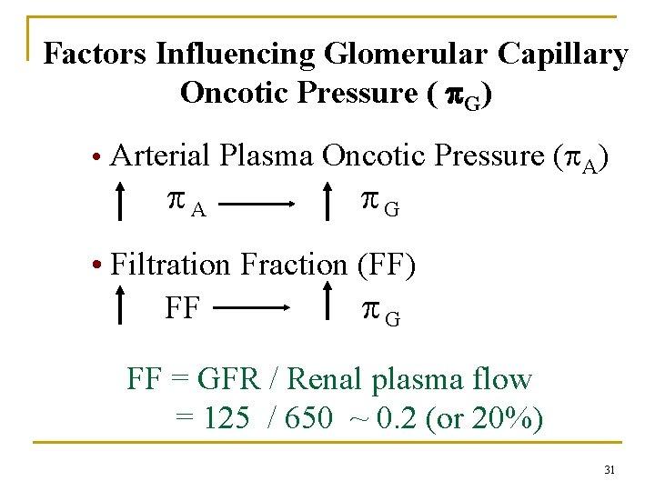 Factors Influencing Glomerular Capillary Oncotic Pressure ( G) • Arterial Plasma Oncotic Pressure (