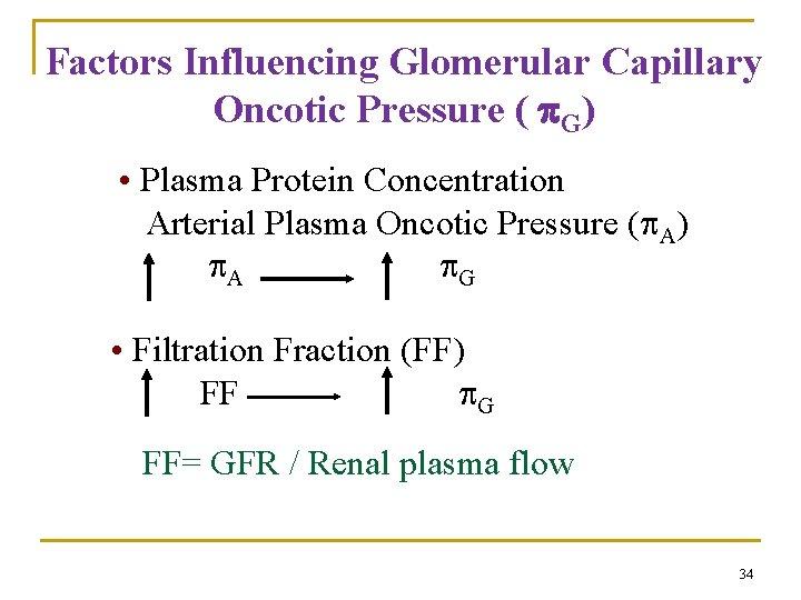 Factors Influencing Glomerular Capillary Oncotic Pressure ( G) • Plasma Protein Concentration Arterial Plasma
