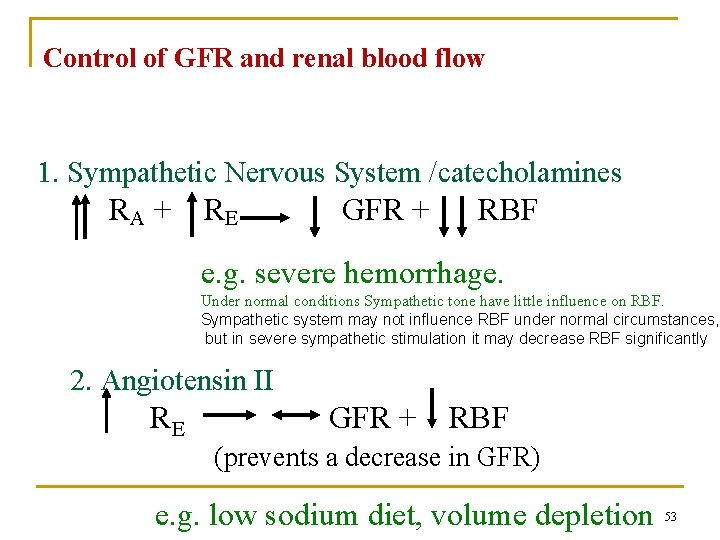 Control of GFR and renal blood flow 1. Sympathetic Nervous System /catecholamines RA +