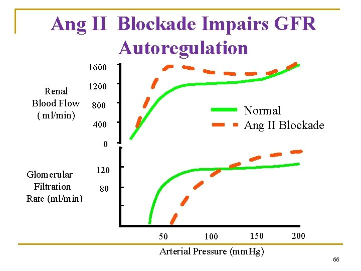 Ang II Blockade Impairs GFR Autoregulation 1600 Renal Blood Flow ( ml/min) 1200 800