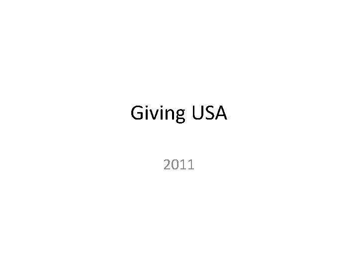 Giving USA 2011