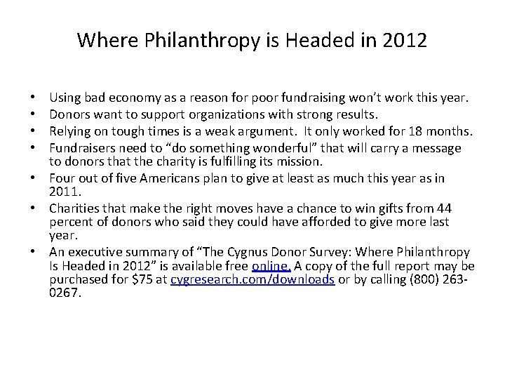 Where Philanthropy is Headed in 2012 Using bad economy as a reason for poor