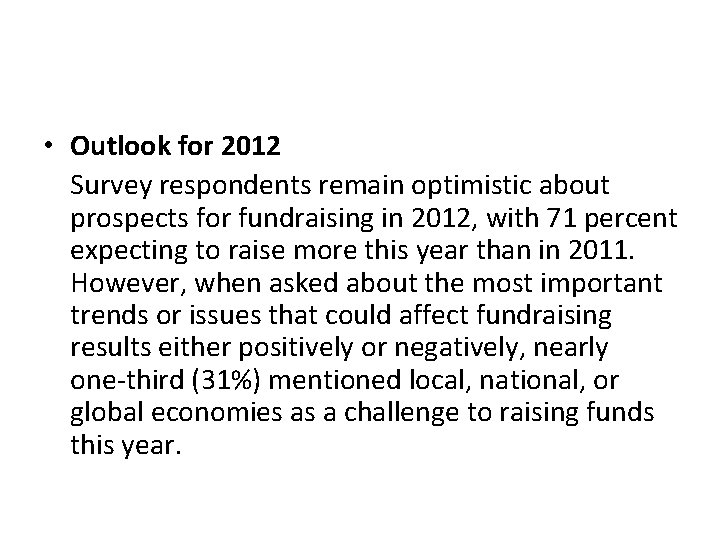 • Outlook for 2012 Survey respondents remain optimistic about prospects for fundraising in