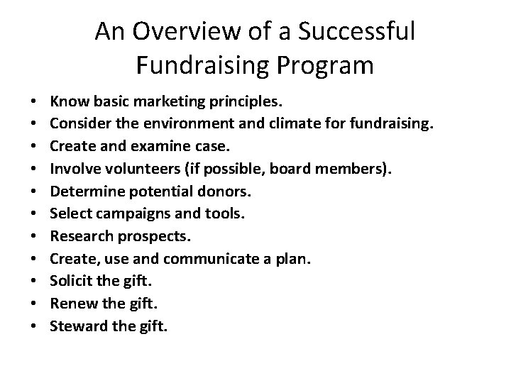 An Overview of a Successful Fundraising Program • • • Know basic marketing principles.