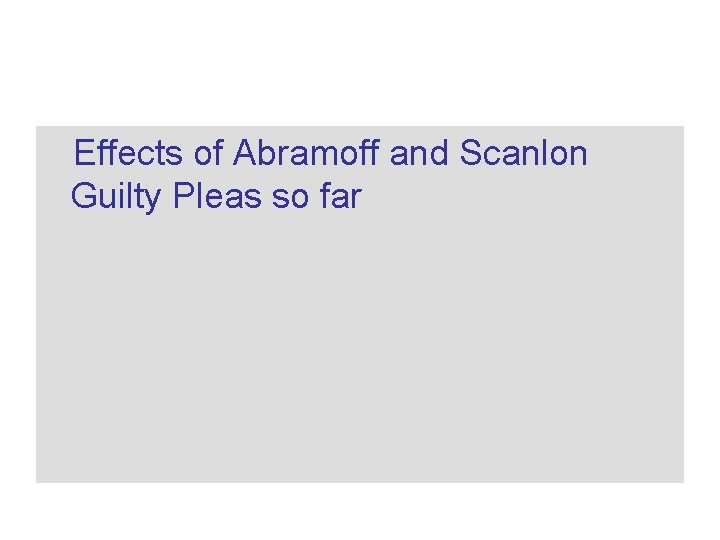 Effects of Abramoff and Scanlon Guilty Pleas so far