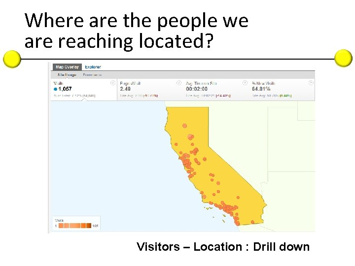 Where are the people we are reaching located? Visitors – Location : Drill down