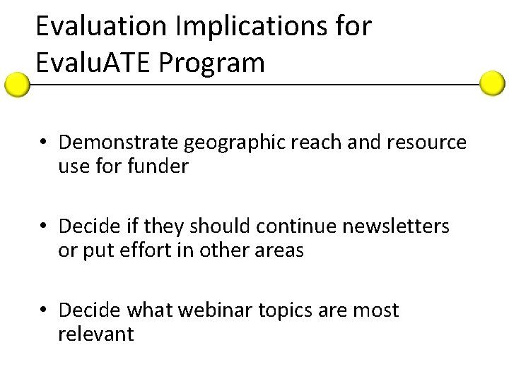 Evaluation Implications for Evalu. ATE Program • Demonstrate geographic reach and resource use for