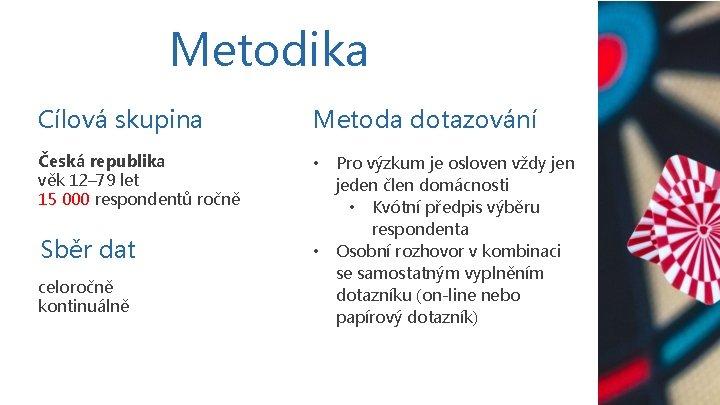 Metodika Cílová skupina Metoda dotazování Česká republika věk 12– 79 let 15 000 respondentů