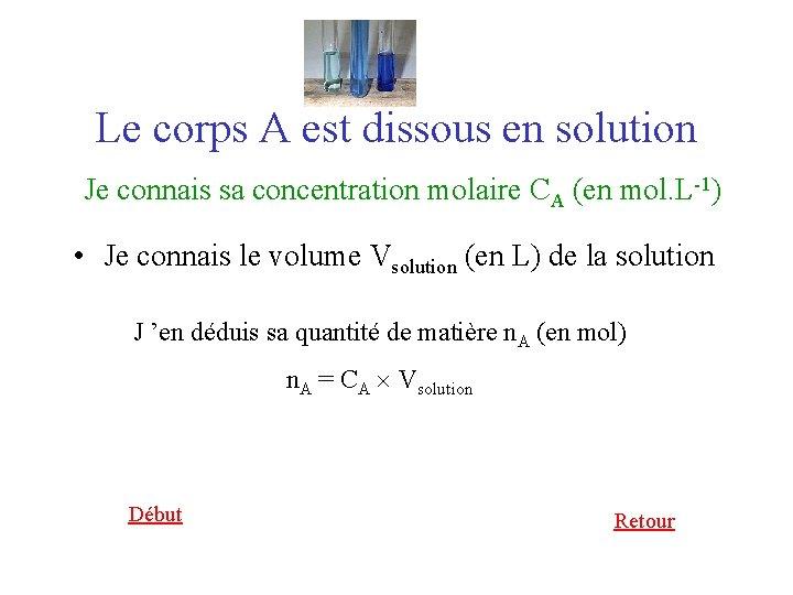 Le corps A est dissous en solution Je connais sa concentration molaire CA (en