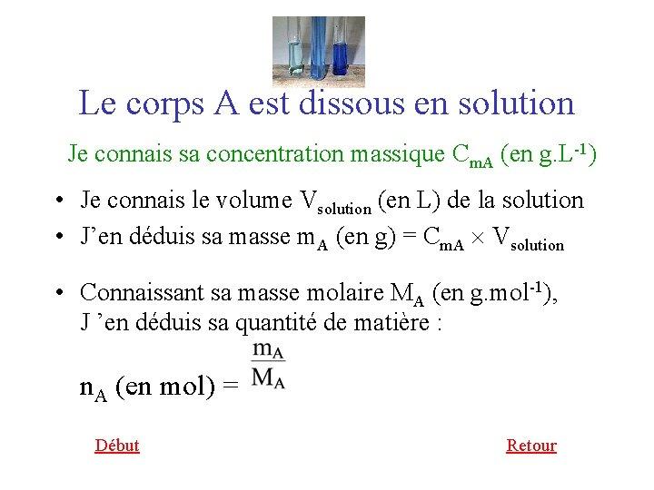 Le corps A est dissous en solution Je connais sa concentration massique Cm. A
