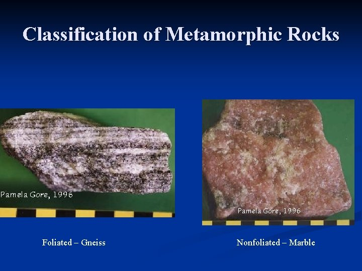 Classification of Metamorphic Rocks Foliated – Gneiss Nonfoliated – Marble