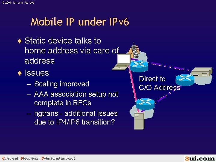 © 2000 3 ui. com Pte Ltd Mobile IP under IPv 6 ¨ Static