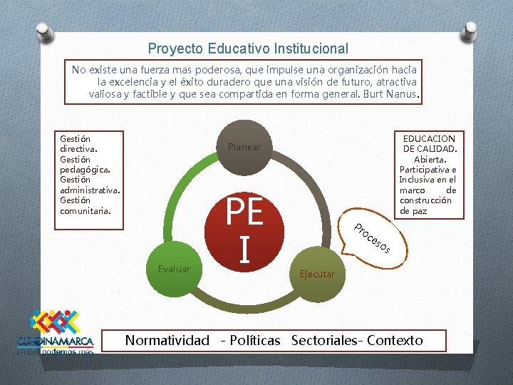 Proyecto Educativo Institucional No existe una fuerza mas poderosa, que impulse una organización hacia