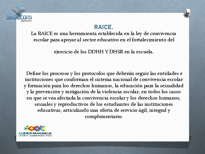 RAICE. La RAICE es una herramienta establecida en la ley de convivencia escolar para