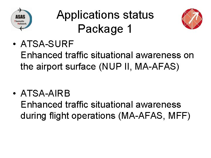 Applications status Package 1 • ATSA-SURF Enhanced traffic situational awareness on the airport surface