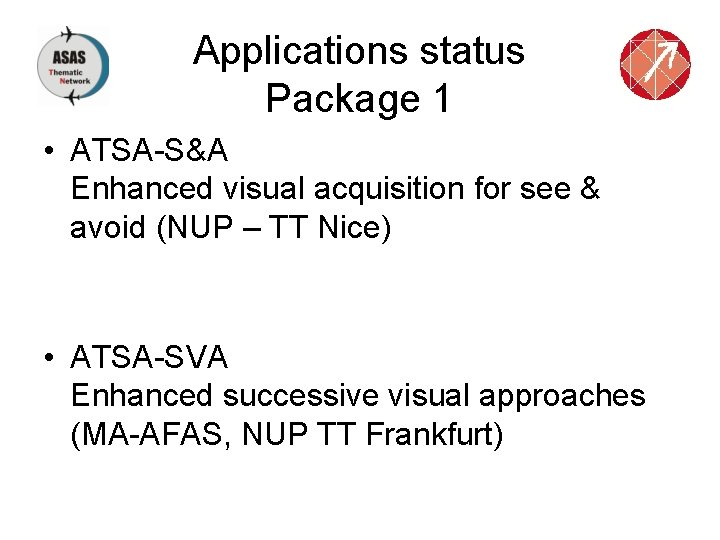 Applications status Package 1 • ATSA-S&A Enhanced visual acquisition for see & avoid (NUP