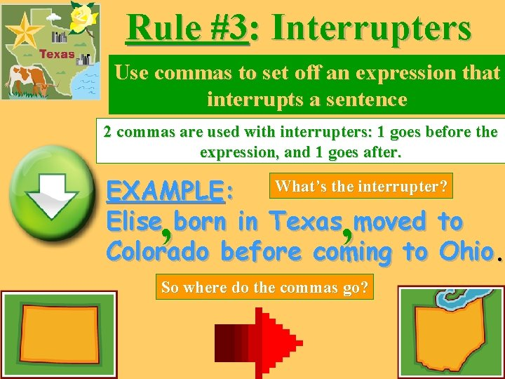 Rule #3: Interrupters Use commas to set off an expression that interrupts a sentence
