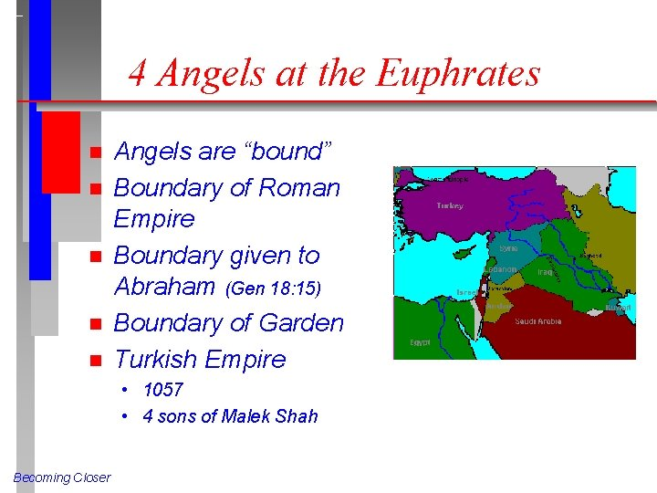 """4 Angels at the Euphrates n n n Angels are """"bound"""" Boundary of Roman"""