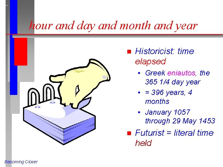 hour and day and month and year n Historicist: time elapsed • Greek eniautos,