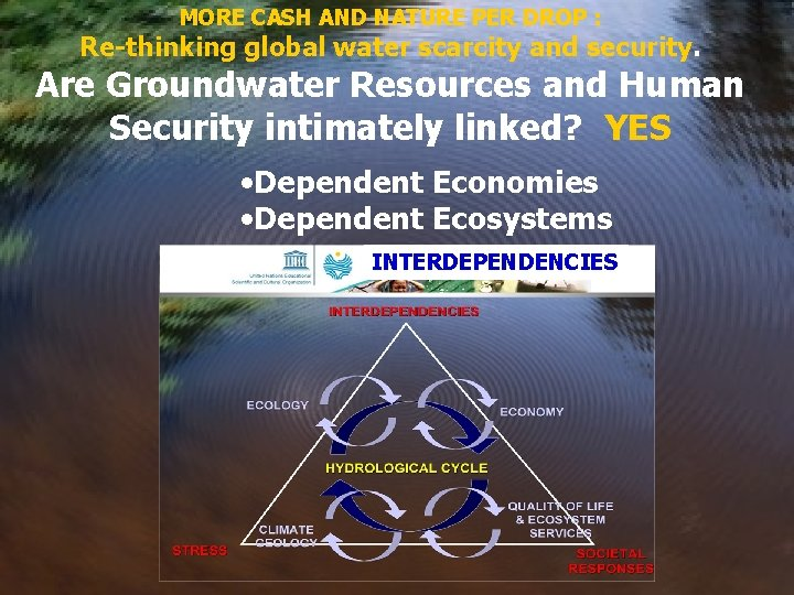 MORE CASH AND NATURE PER DROP : Re-thinking global water scarcity and security. Are