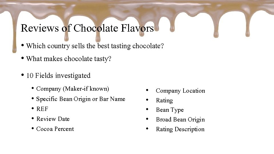 Reviews of Chocolate Flavors • Which country sells the best tasting chocolate? • What