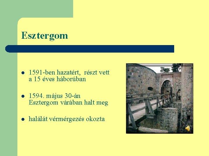 Esztergom l 1591 -ben hazatért, részt vett a 15 éves háborúban l 1594. május