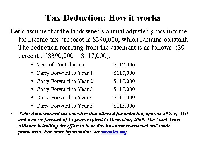 Tax Deduction: How it works Let's assume that the landowner's annual adjusted gross income