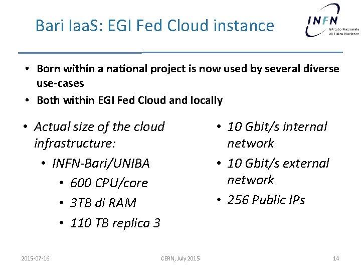 Bari Iaa. S: EGI Fed Cloud instance • Born within a national project is