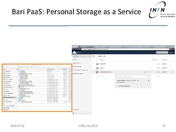 Bari Paa. S: Personal Storage as a Service 2015 -07 -16 CERN, July 2015