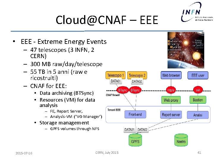 Cloud@CNAF – EEE • EEE - Extreme Energy Events – 47 telescopes (3 INFN,
