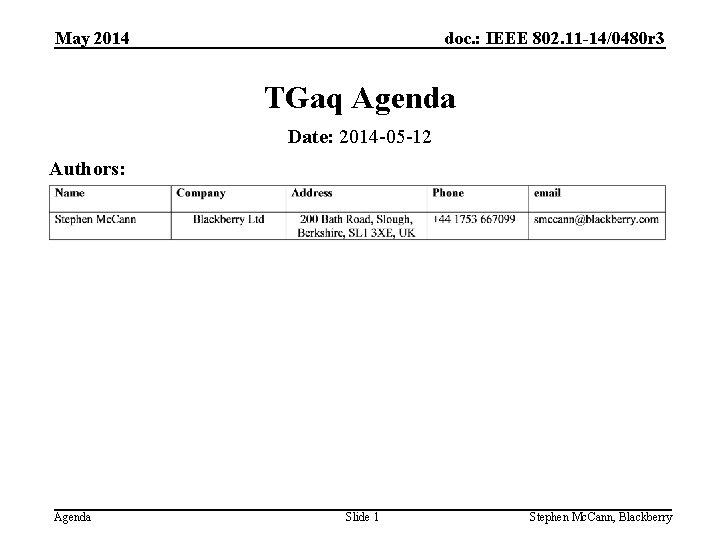doc. : IEEE 802. 11 -14/0480 r 3 May 2014 TGaq Agenda Date: 2014