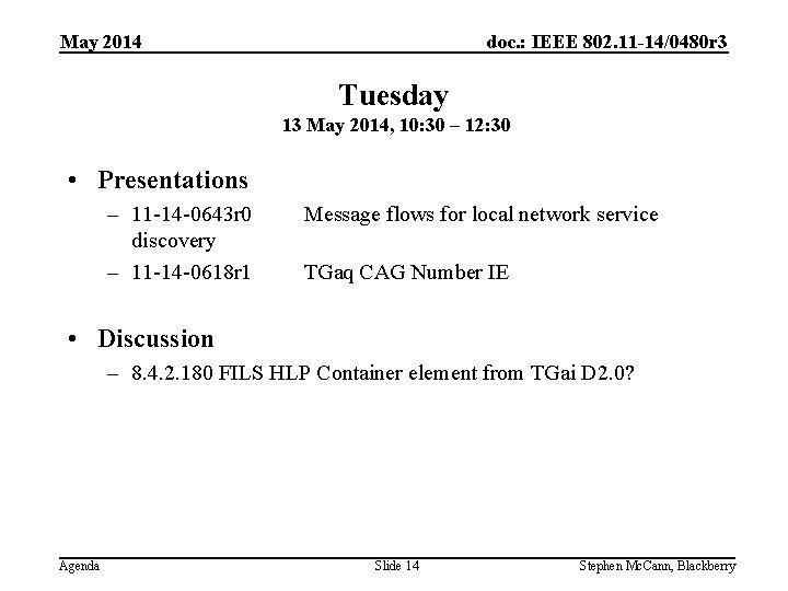 doc. : IEEE 802. 11 -14/0480 r 3 May 2014 Tuesday 13 May 2014,