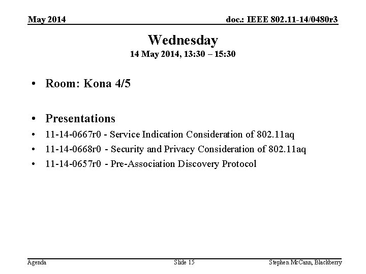 doc. : IEEE 802. 11 -14/0480 r 3 May 2014 Wednesday 14 May 2014,