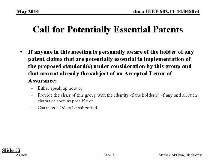 doc. : IEEE 802. 11 -14/0480 r 3 May 2014 Call for Potentially Essential