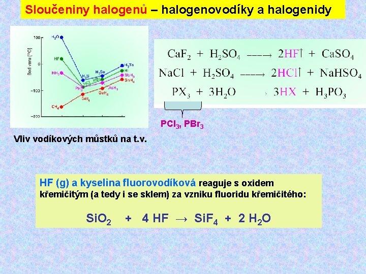 Sloučeniny halogenů – halogenovodíky a halogenidy PCl 3, PBr 3 Vliv vodíkových můstků na