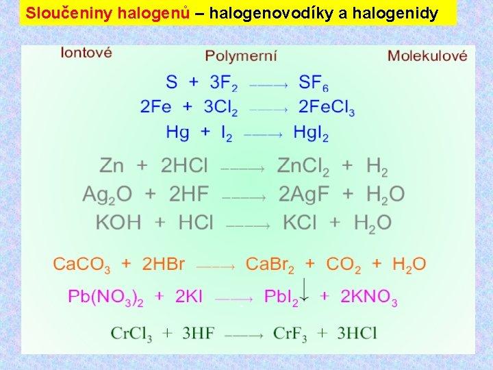 Sloučeniny halogenů – halogenovodíky a halogenidy