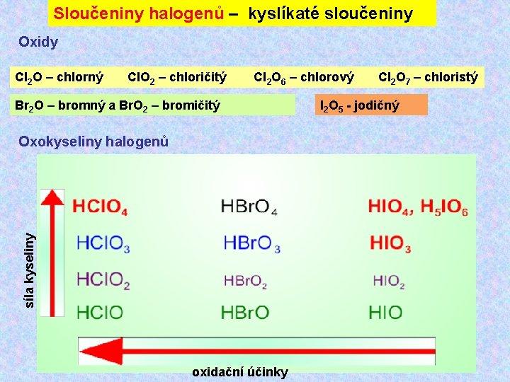 Sloučeniny halogenů – kyslíkaté sloučeniny Oxidy Cl 2 O – chlorný Cl. O 2