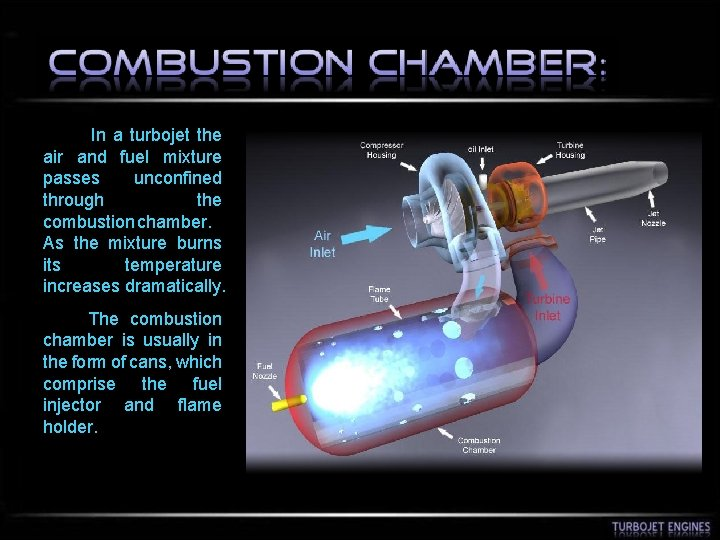 In a turbojet the air and fuel mixture passes unconfined through the combustion