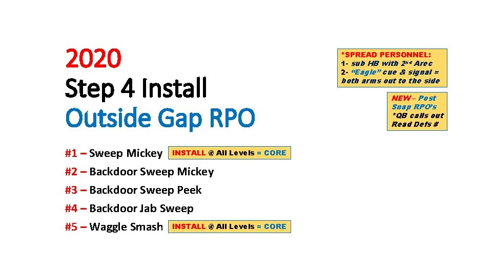 2020 Step 4 Install Outside Gap RPO #1 – Sweep Mickey INSTALL @ All
