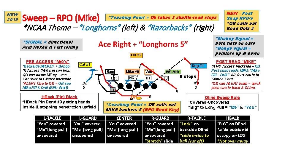 NEW 2019 Sweep – RPO (Mike) *Teaching Point = Qb takes 3 shuffle-read steps