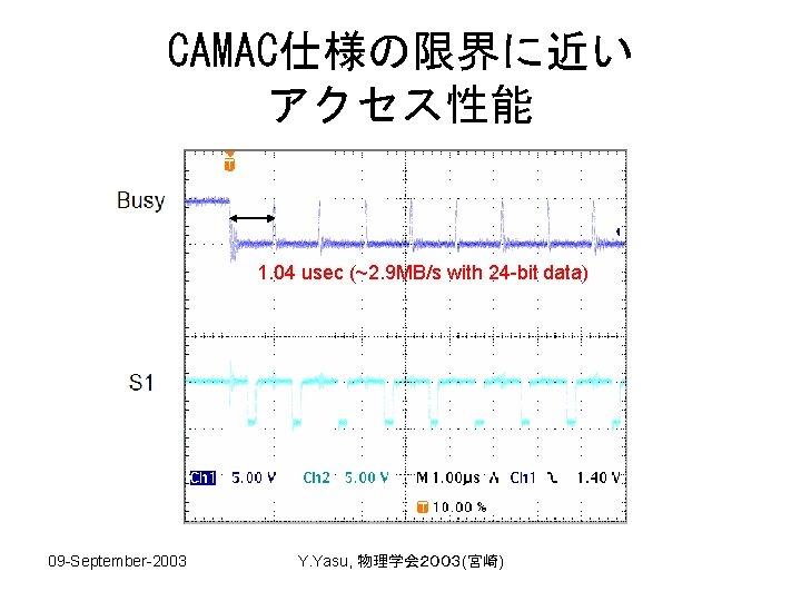 CAMAC仕様の限界に近い アクセス性能 1. 04 usec (~2. 9 MB/s with 24 -bit data) 09 -September-2003