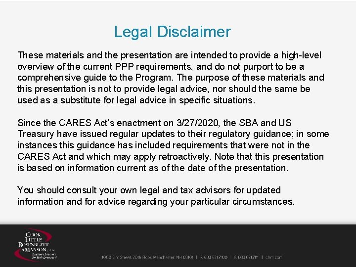 Legal Disclaimer These materials and the presentation are intended to provide a high-level overview