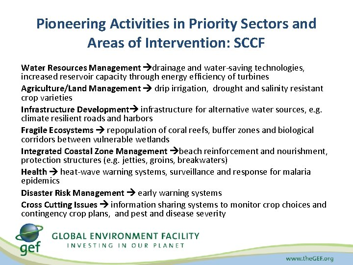 Pioneering Activities in Priority Sectors and Areas of Intervention: SCCF Water Resources Management drainage