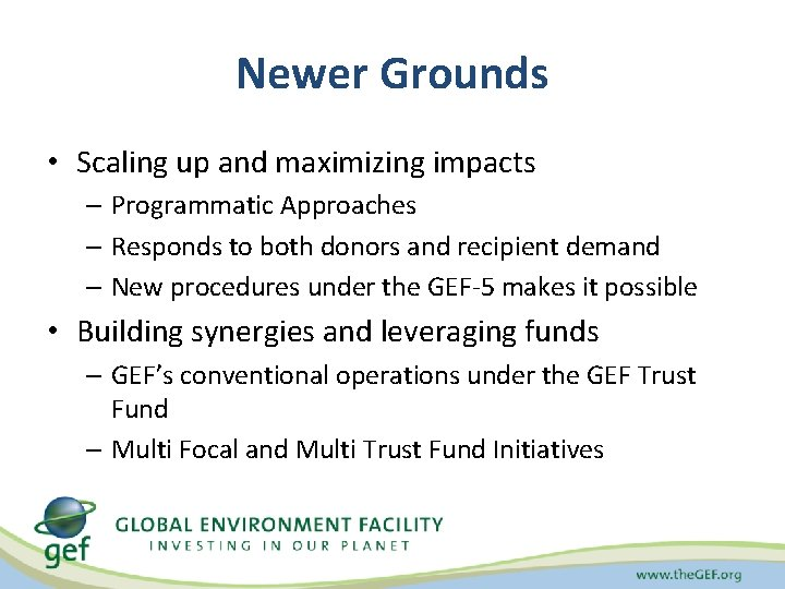 Newer Grounds • Scaling up and maximizing impacts – Programmatic Approaches – Responds to