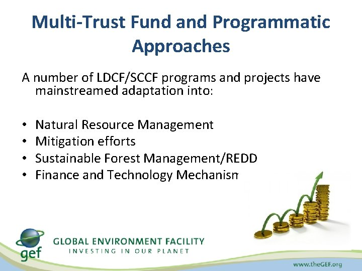 Multi-Trust Fund and Programmatic Approaches A number of LDCF/SCCF programs and projects have mainstreamed