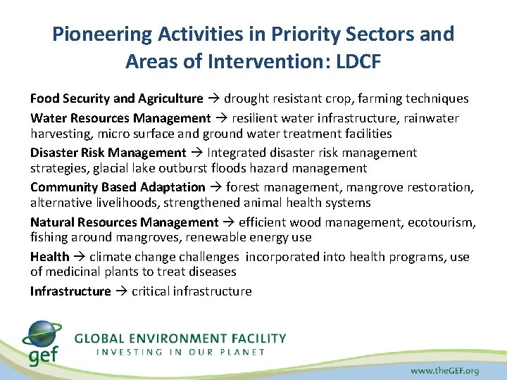 Pioneering Activities in Priority Sectors and Areas of Intervention: LDCF Food Security and Agriculture