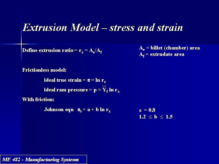 Extrusion Model – stress and strain Define extrusion ratio = rx = Ao/Af Ao