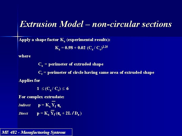 Extrusion Model – non-circular sections Apply a shape factor Kx (experimental results): Kx =