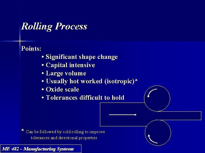 Rolling Process Points: • Significant shape change • Capital intensive • Large volume •